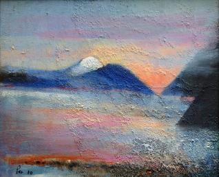 Kystlandskap i kveldslys - 46x38, akryl