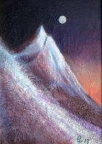 Måne over Straumshorn - 24x33, akryl