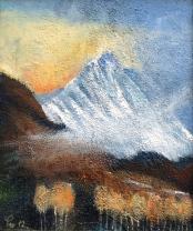 Tidlig høstmorgen over Gimsdalstinden - 38x46, akryl