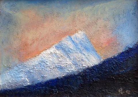Gimsdalstinden i strålede humør - 33x24, akryl