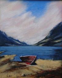 Båten ved Fetvatnet, akryl, 40x50 cm