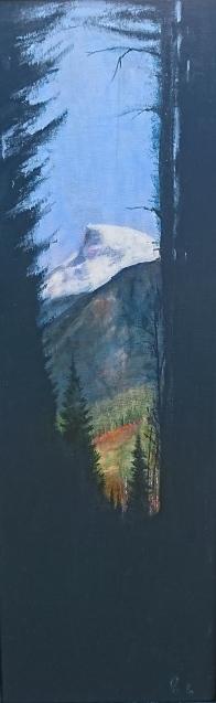 Fjell bak skog, akryl, 30x90 cm