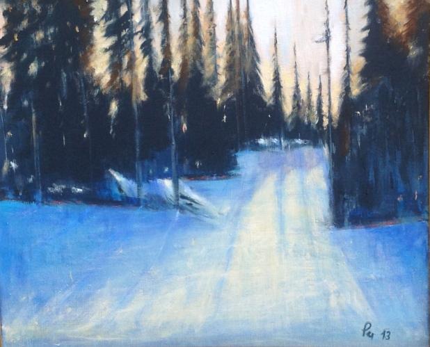 Grantrær i vinterbaklys - 55 x 46, akryl