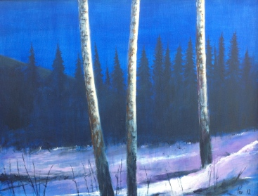 Månelys over snø og granskog - 82x63, akryl