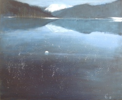 Havspeilen fanger månen og stjernehimmelen - 72x60, akryl