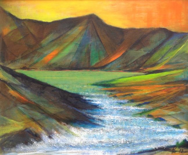Natur i grønt fargespill - 65x54, akryl