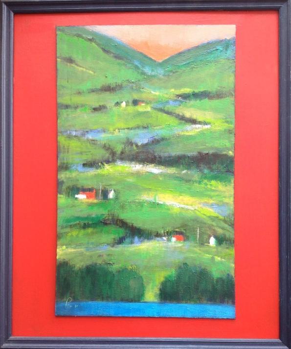 Gode naboer i bratt landskap - 50x61, akryl