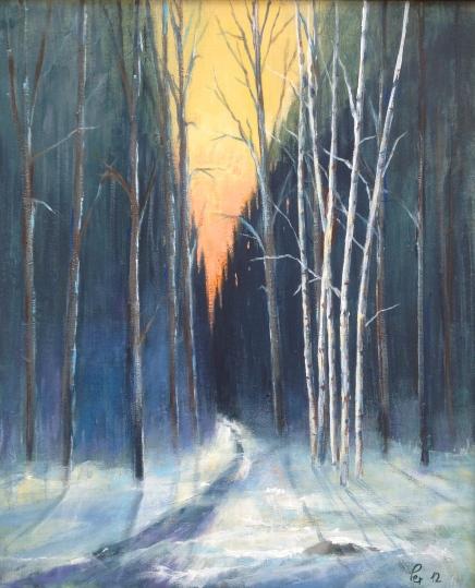 Januarkveld i baklys - 50x61, akryl