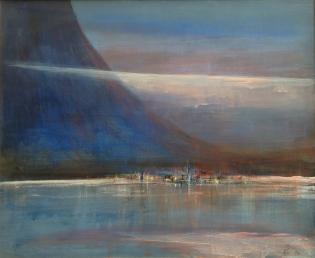 Blått lys over kystbygd - 61x50, akryl