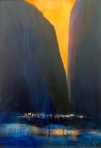 Lysild over bratte fjell - 38x55, akryl