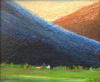 Kveldslys over fjell og hus - 46x38