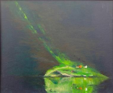 Solstreif i fjordlanskap! - 46x38, akryl