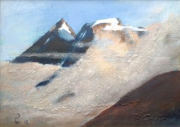 Fjell i kveldssol og skodde - 46x33, akryl