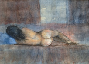 Blått lys over sovende kvinne - 40x30