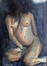 Naken kvinne med skjult ansikt - 21x30
