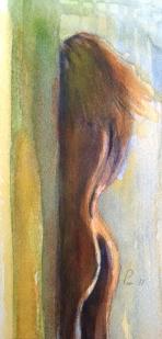 Kvinne som gjømmer seg - 13x18