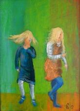 Danseglade frøkner! - 24x33, akryl