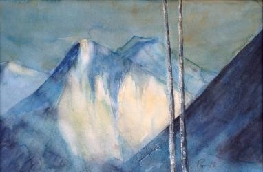 Bjørketre mot fjell - 40x30, akvarell