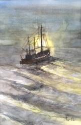 I hildringstimen er det godt å seile - 30x40, akvarell