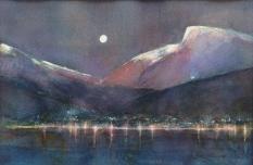 Sykkylven sett fra sjøen - 40x30, akvarell