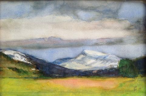 Han og ho - Nibba og Rømerhornet - 40x30, akvarell