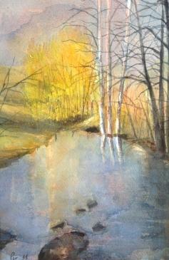 Trær foran vannspeilet - 30x40, akvarell