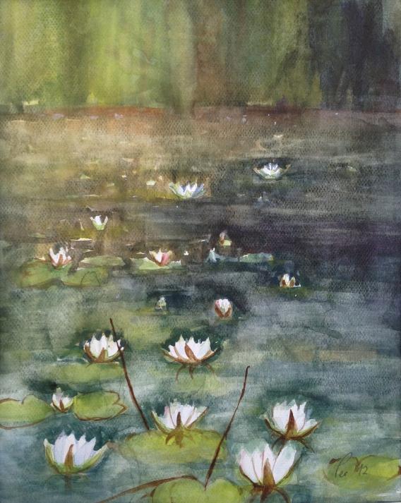 Vannlinjer i kveldslys - 40x50, akvarell