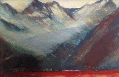 Fjellpyramider - 40x30, akvarell