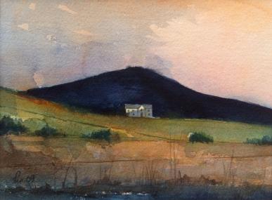 Huset der oppe - 40x30, akvarell