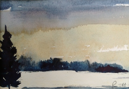 Vinter og 20 minus! - 30x24, akvarell