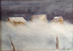 Nordvesten står på - men det er enda varme i husa! - 30x21, akvarell