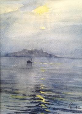 Båt i blåtimen - 21x30, akvarell