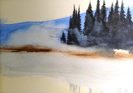 Grantrær i sol og skodde - 24x18, akvarell