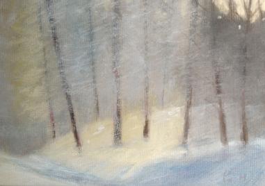 Vinter - kald vind og snø - 24x18, pastell