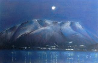 Måne over fjellkoloss - 40x30, pastell