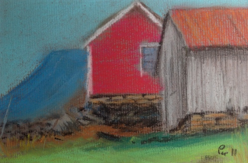 Hytte og fjøs på Grebstadsætra - 24x18, pastell