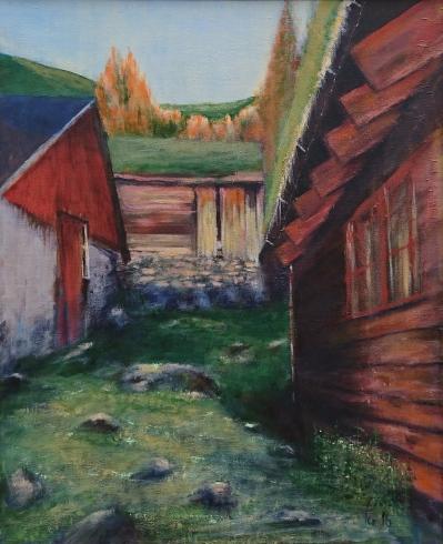 Kveldssol varmer selveggene på Brunstadsætra, akryl, 50x61 cm