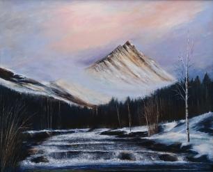 Nært forhold - elv og fjell (Gimsdalstind og Vikelva) 97 x 81 Grønli