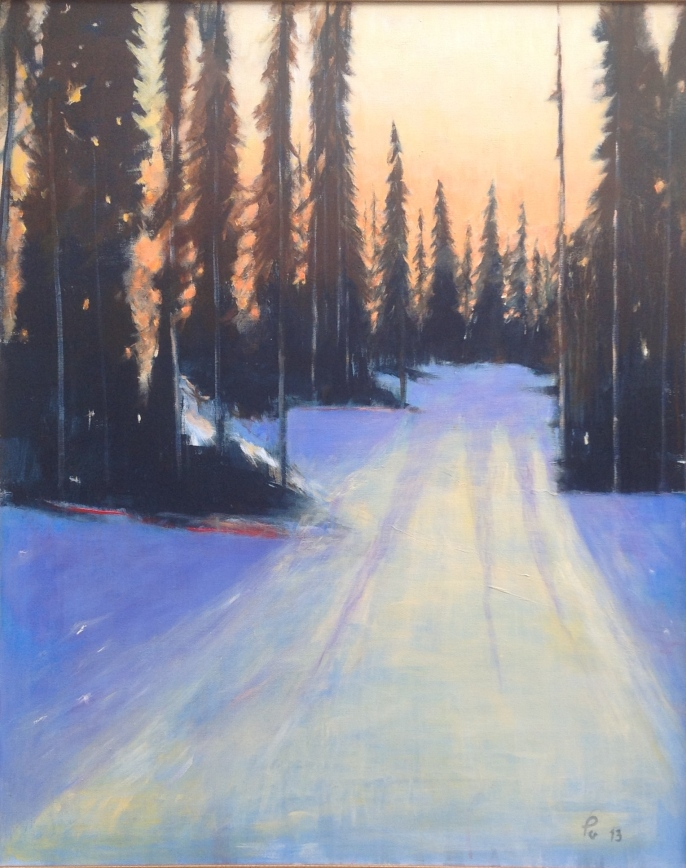 Snø og granskog i baklys 2 - 81 x 100, akryl