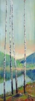 Stille vann med fire ungbjørker som publikum - 22x61, akryl