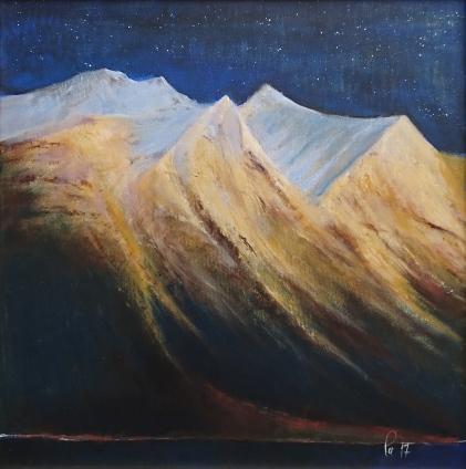 Stjernehimmel over fjellpyramider langs Fetvatnet, akryl, 58x59 cm