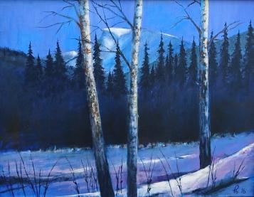 Tre bjørketrær med dansegale grantrær bakom - mens Nibba følger med, akryl, 82x62 cm