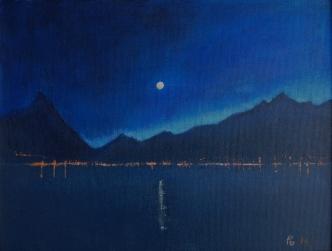 Natt og fullmåne over Sykkylven 35x27