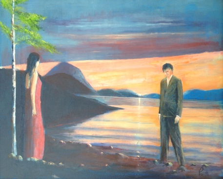 Kvinna, mannen og blåtimen 61x50