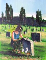 Kvinna og grava 33x41