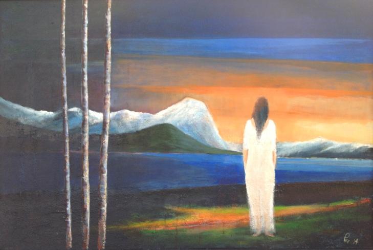 Kvinna og himmelbrannen 120x80