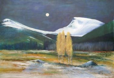 Fullmånenatt over Nibba og Rømerhornet, akryl, 100x70 cm