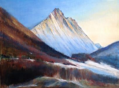 Kveldssola klatrer på Gimsdalstinden og Hammarsettindane, akryl, 60x40 cm