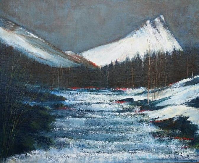 Måne over Gimsdalstinden og Vikelva, akryl, 61x50 cm