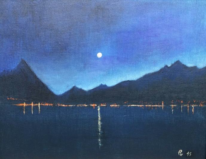 Natt og fullmåne over Sykkylven, akryl, 35x27 cm